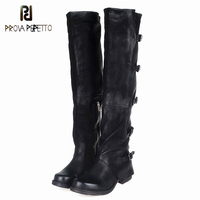 Prova Perfetto Concisc Winter Solid Over The Knee Shoes Women Sheepskin European Boots Belt Buckle Design Fashion Thin Boot