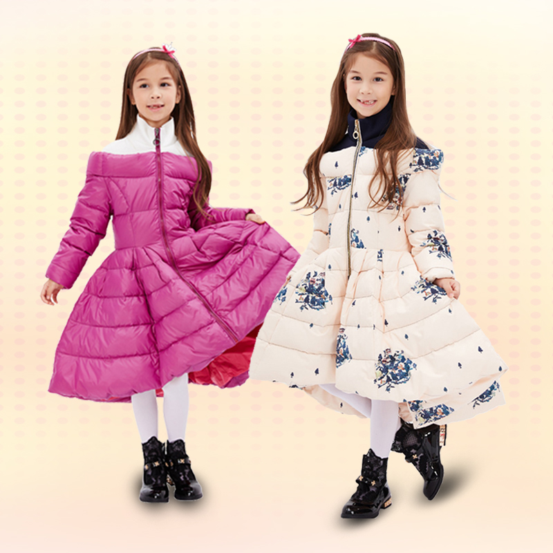 ФОТО 2017 new children's down jacket girls with zipper pleads parka coat thicker fashion winter princess clothes