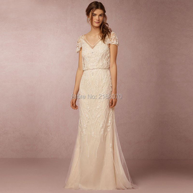 Country style mermaid beach wedding dress bohemian v neck for 3 in 1 wedding dress