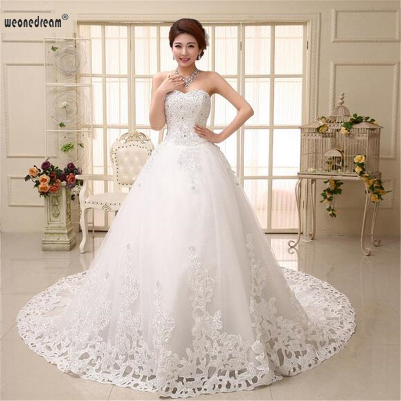 Weonedream 2017 Elegance Summer S Dress Strapless Lace Tail Christening White Gowns Princess Party