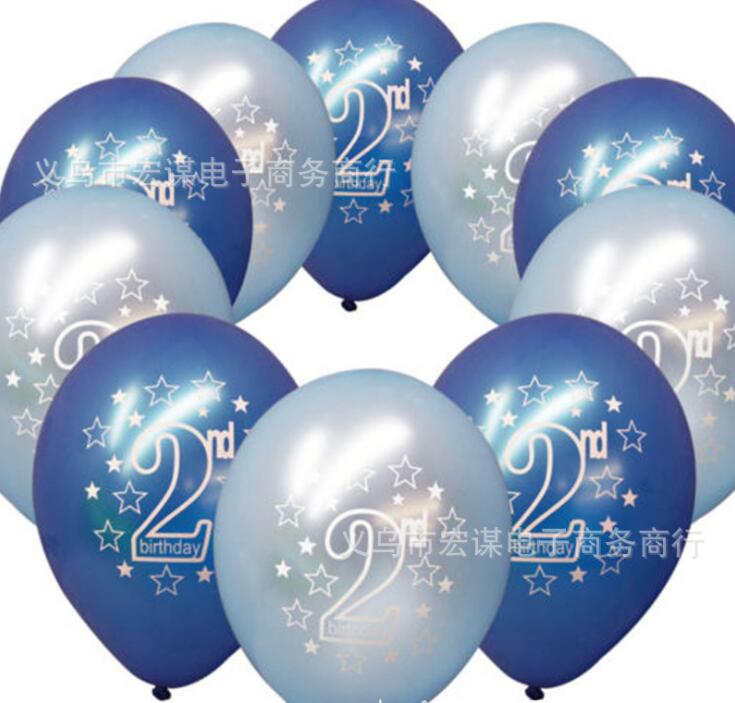 10 Pcs Set Cute Printing Balloons Baby 2 Years Old Birthday Party Decorations Happy Kids Supplies In Ballons Accessories From Home