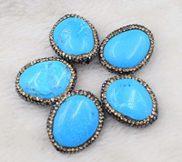 5pcs Green Turquoises Stone Flat Baroque For DIY To Make Wholesale Beads Nature FPPJ Loose Beads