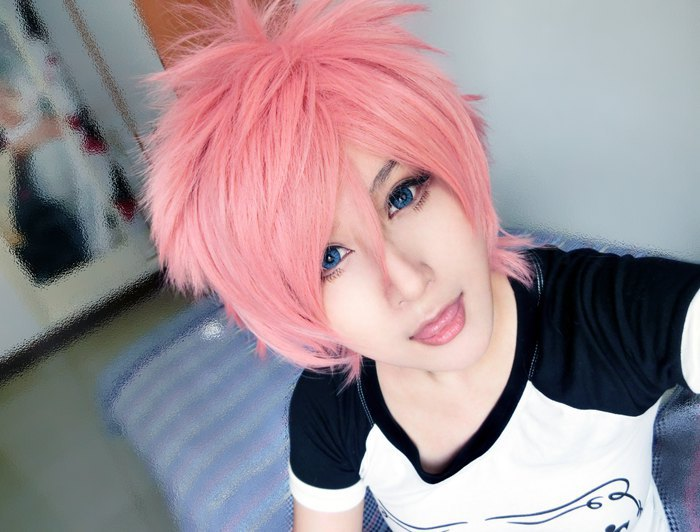 MCOSER New Designed  35cm Long  Short Synthetic WigsAo No Exorcist/Fairy Tail-shima Renzou/Natsu Dragneel   Cosplay  Wig