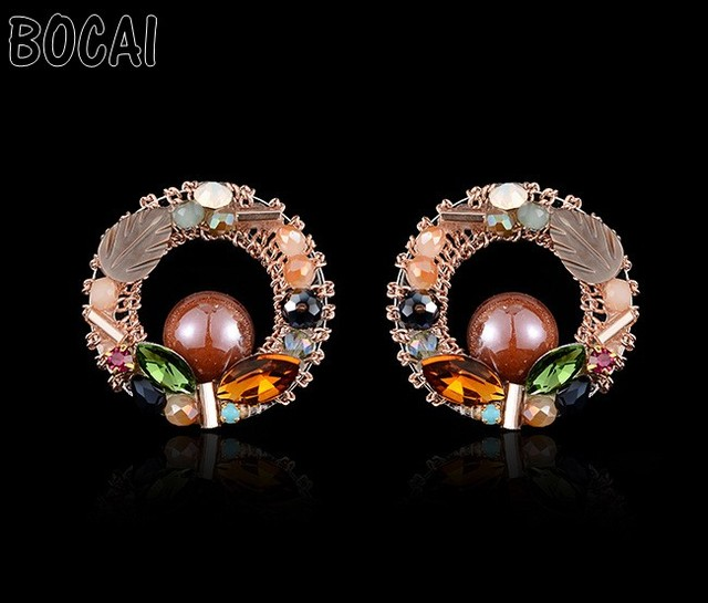 Korean temperament exquisite handmade Crystal Bohemian national wind earrings