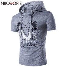 Brand Summer T Shirt Antelope Print Men Short Sleeve Cotton T-Shirt Hooded Slim Men's Casual Tshirt Men Top Tees Men Sportswear