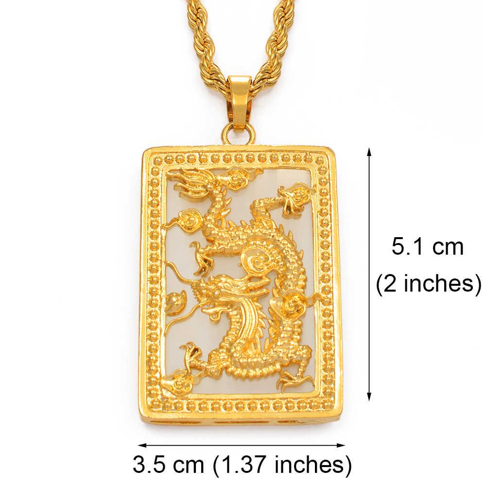 Anniyo Big smok wisiorek naszyjnik z kamienia dla mężczyzn złoty kolor biżuteria maskotka ozdoby szczęście naszyjniki chiński styl #014207