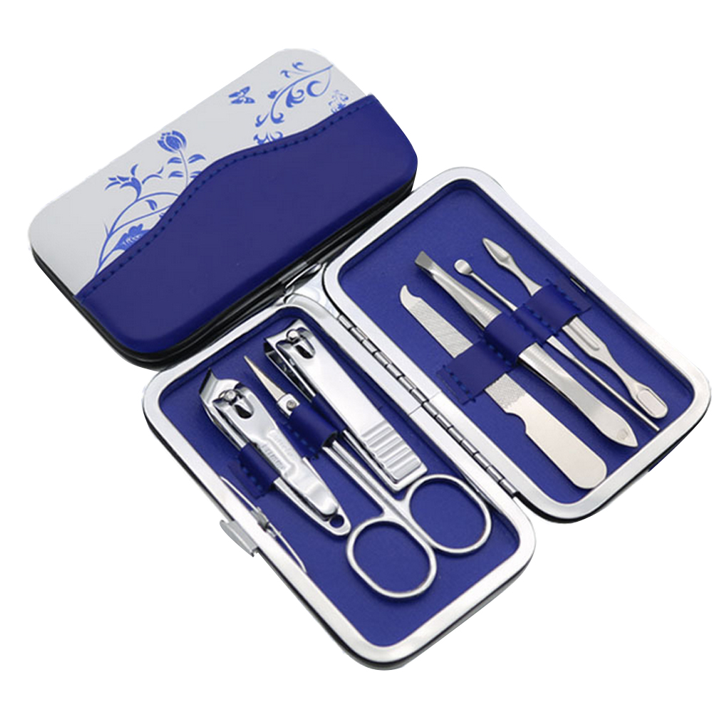 New Arrival   7pcs/set Nail  Trimmer Kit Professional Utility Carbon Steel Manicure Nail Care Tools Set With PU Flower Case