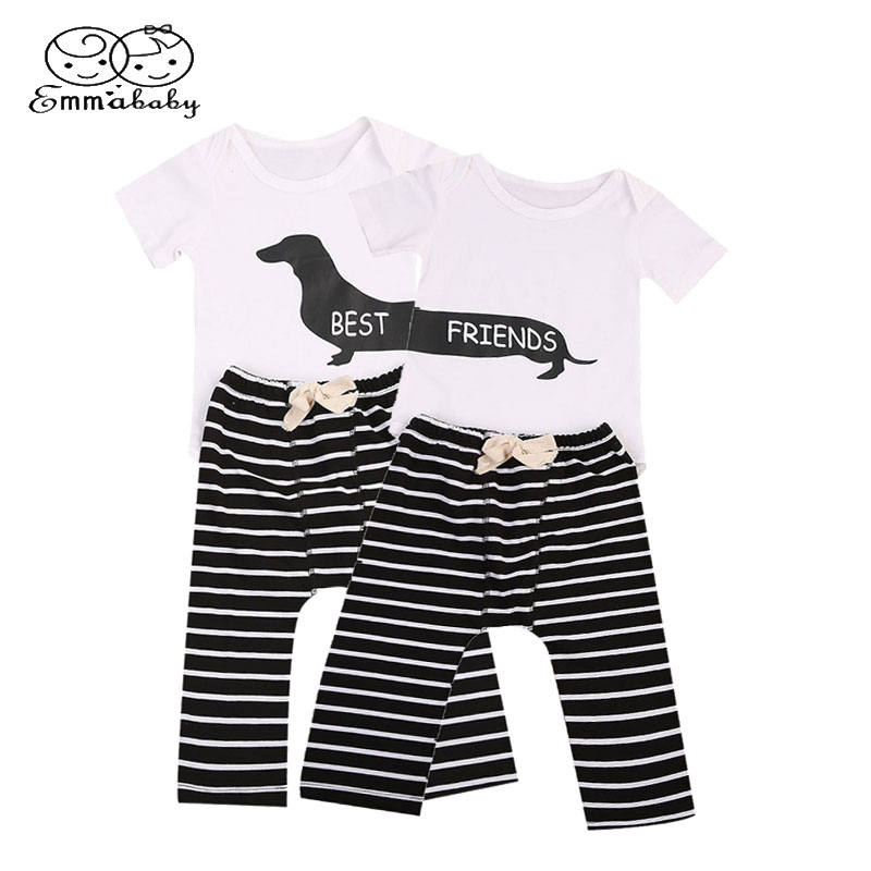 Emmababy Sister brother Clothing Cute Newborn Baby Boys Girls Romper Bodysuit+Striped Pants 2Pcs Outfits Clothes Set fashion 2pcs set newborn baby girls jumpsuit toddler girls flower pattern outfit clothes romper bodysuit pants