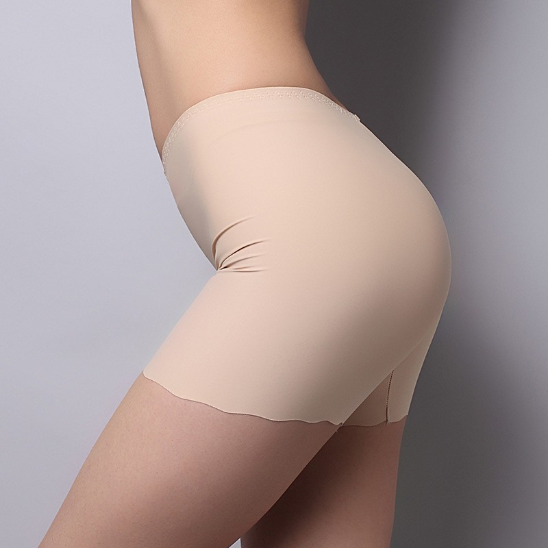 Women Seamless Ice Silk Panties High Waist Stretch Solid Safety Short Pants in Safety Short Pants from Underwear Sleepwears