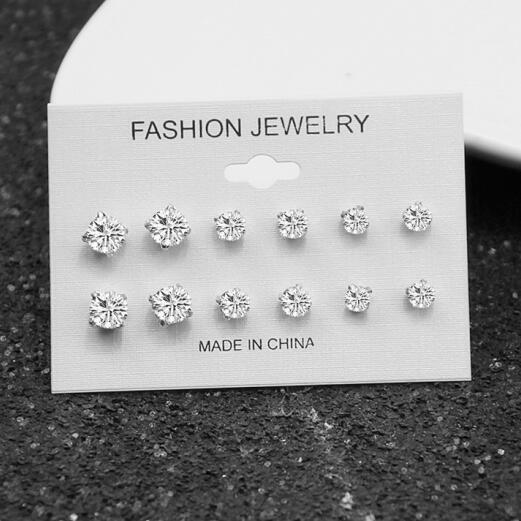 Us 0 46 26 Off E0126 Fashion Mixing Crystal Simluated Pearl Stud Earrings 6 Pair Set Shiny Lots Of Jewelry For Women S Whole In