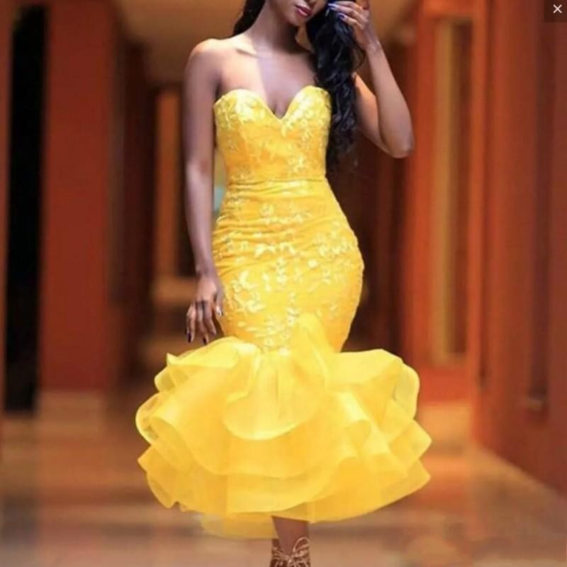 Chic   Evening     Dress   Yellow Vestidos De Festa Sexy   Evening     Dresses   Ruffles Robe De Soiree Organza Applique   Evening   Gowns Mermaid