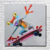 Skating Frosch Leinwand Ölgemälde Home Decor Wohnzimmer Decor Kunst Bilder Mit Gerahmte Gemälde Fertig zum Aufhängen Bilder