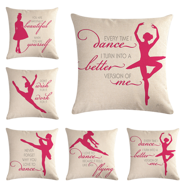 Danza Cuscino Lettera Della Ragazza di Balletto per Divano Casa Decorativa Caso