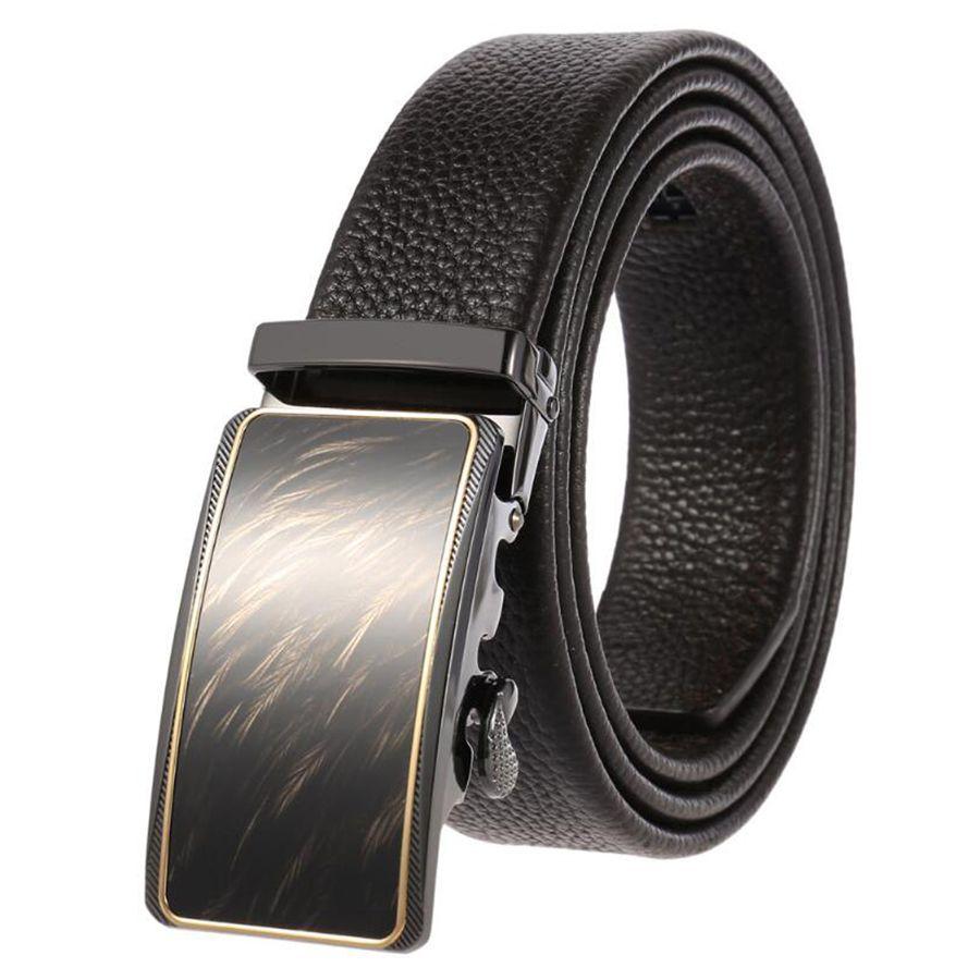 Men 39 s Leather Belts Belts for Men Genuine Leather Ratchet Belt Automatic Buckle Wide 35mm Men Automatic Buckle Belt in Men 39 s Belts from Apparel Accessories