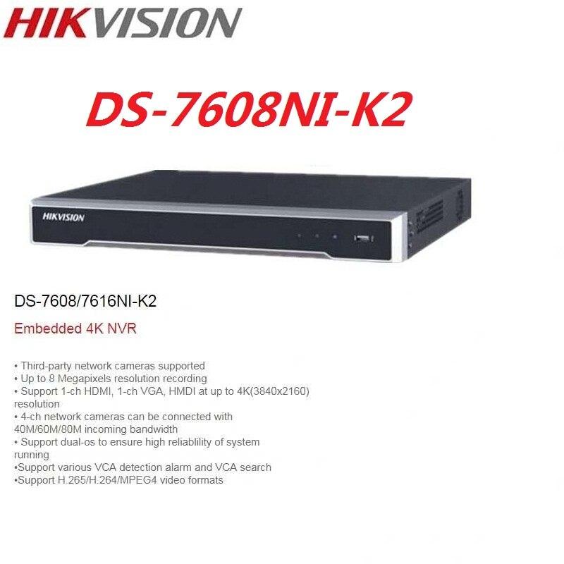 Original Hikvision DS-7608NI-K2 Anglais 8CH 4 K H.265 NVR Réseau Enregistreur Vidéo prend en charge 2 pièces HDD