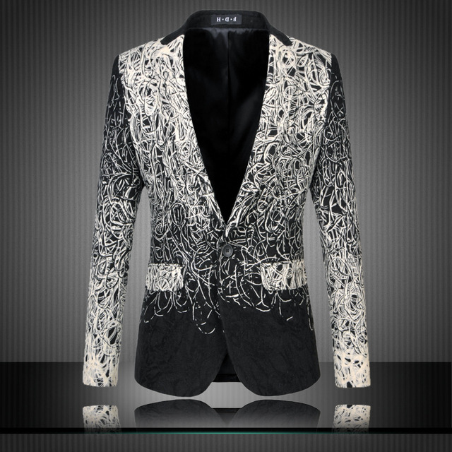 Marca de lujo de los hombres floral blazer traje homme lujo unique vintage suit jacket casual 5-6xl más tamaño terno tc076