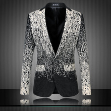 Men Luxury Brand Mens Floral Blazer Costume Homme Luxe Unique Vintage Suit Casual Jacket 5-6XL Plus Size terno masculino TC076