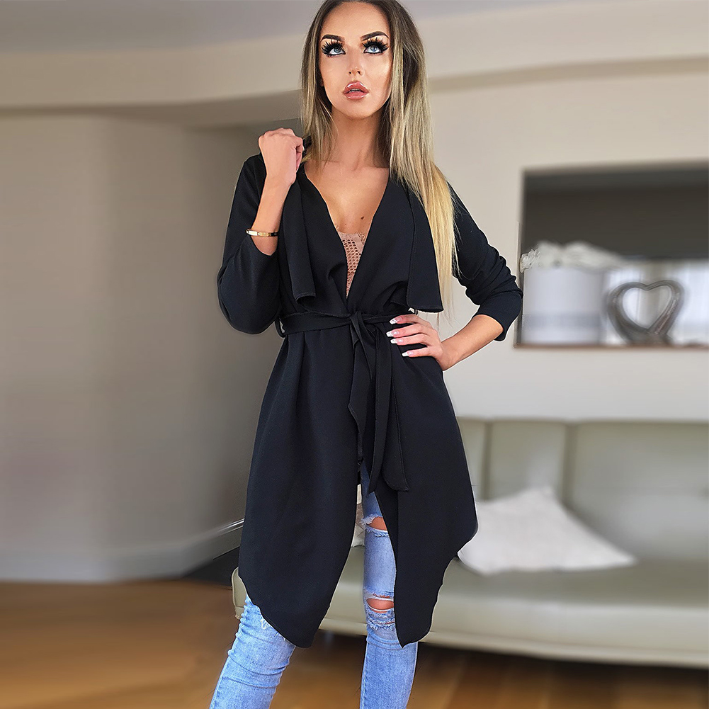 Women Casual Lapel Irregular Hem Coat Lace Up   Trench   Top Outwear Solid Long Sleeve