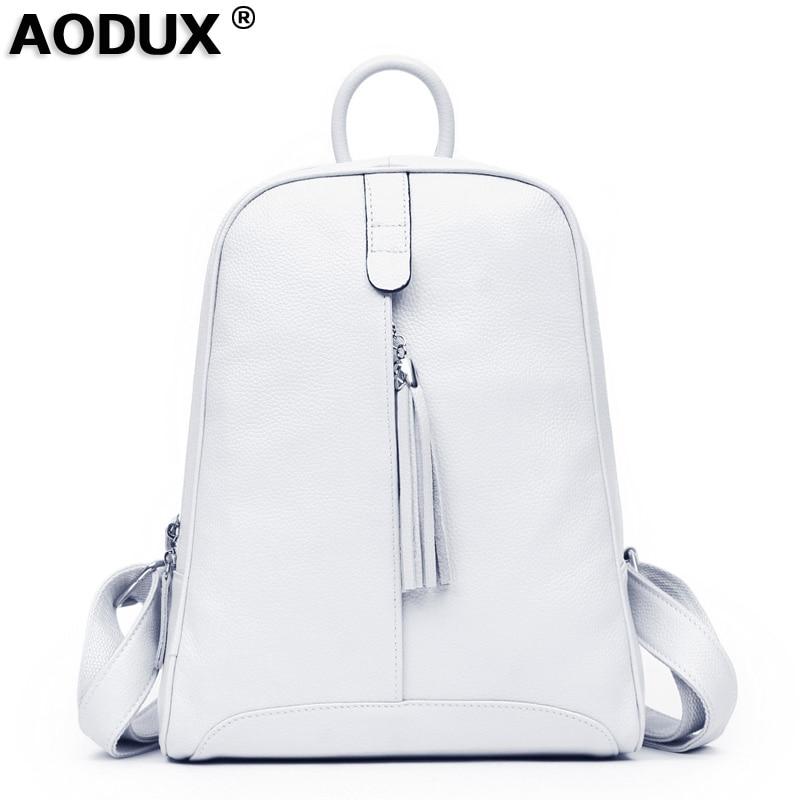 2018 Women's 100% Nature Real Genuine Leather Cowhide Backpacks Ladies's Girls Schoolbag Teenagers Black White Gray Bag