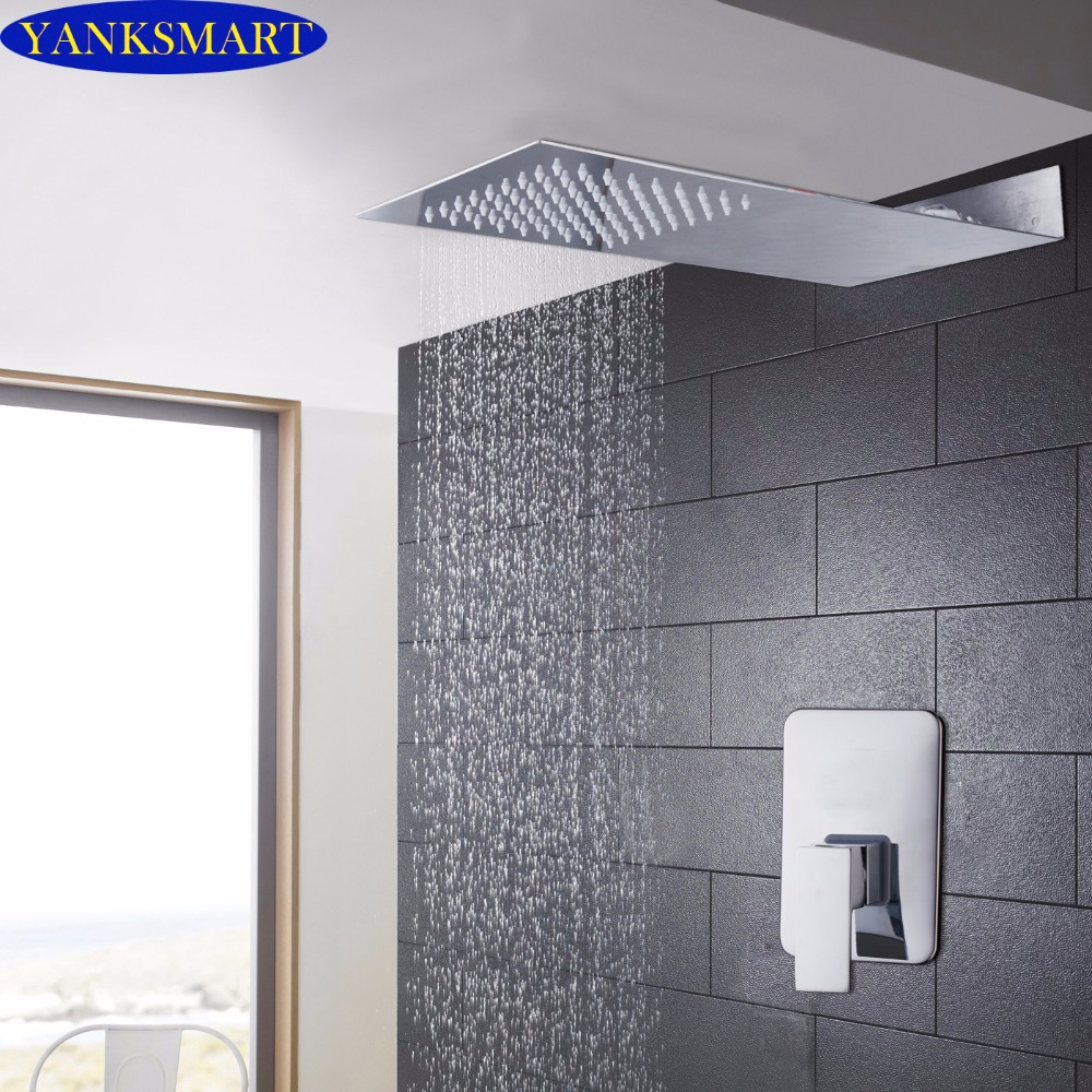 New Rainfall Bathroom Shower sets Shower Head Luxury Wall Mounted Square Style Brass Waterfall Shower Set Factory Direct good quality wall mounted square style brass waterfall shower set new bathroom shower with handle rainfall shower head