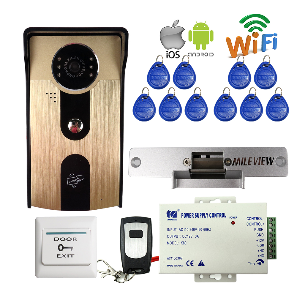 FREE SHIPPPING Wireless Wifi Smart Phone Video Door Phone Intercom RFID Access Outdoor Doorbell Camera Electric Strike Door Lock rfid reader wifi 720p hd video doorbell intercom phone camera for android ios phone with electric strike lock for door access
