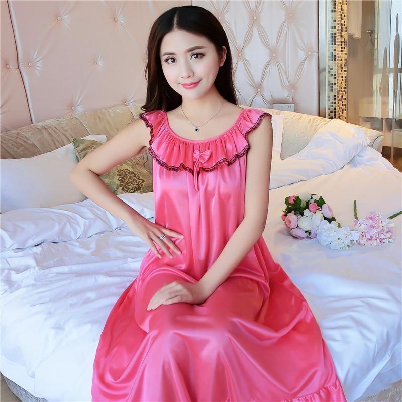 Fdfklak Silk Mother For Pregnant Women Nursing Sleepwear Nightgown
