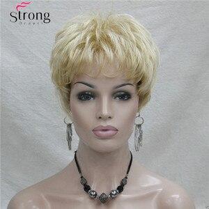 Image 2 - Kısa Altın Sarışın Sentetik Saç peruk Kadınlar Için RENK SEÇENEKLERI