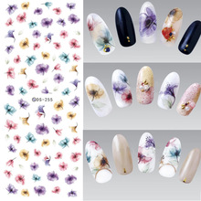 3PCS Blommor Nail Art Stickers Polska UV Gel Klistermärken Nail Tips Dekorationer Vatten Transfer Stickers För Nail Design Watermark