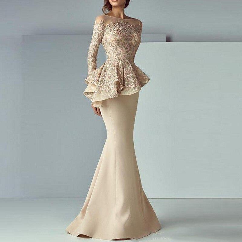 Abendkleider Robe De soirée kaki manches complètes sirène robes De soirée Peplum abiye Robe De soirée élégante Robe De soirée longue