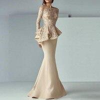 abendkleider Evening Gown Khaki Full Sleeves Mermaid Evening Dresses Peplum abiye Robe De Soiree Elegant Evening Dress Long
