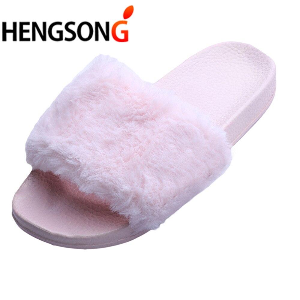 a077b5a02 HENGSONG Hot Sale Spring Summer Autumn Home Plush Slippers Women Faux Fur  Slides Flip Flops Flat Shoes Girls Gift ER891228