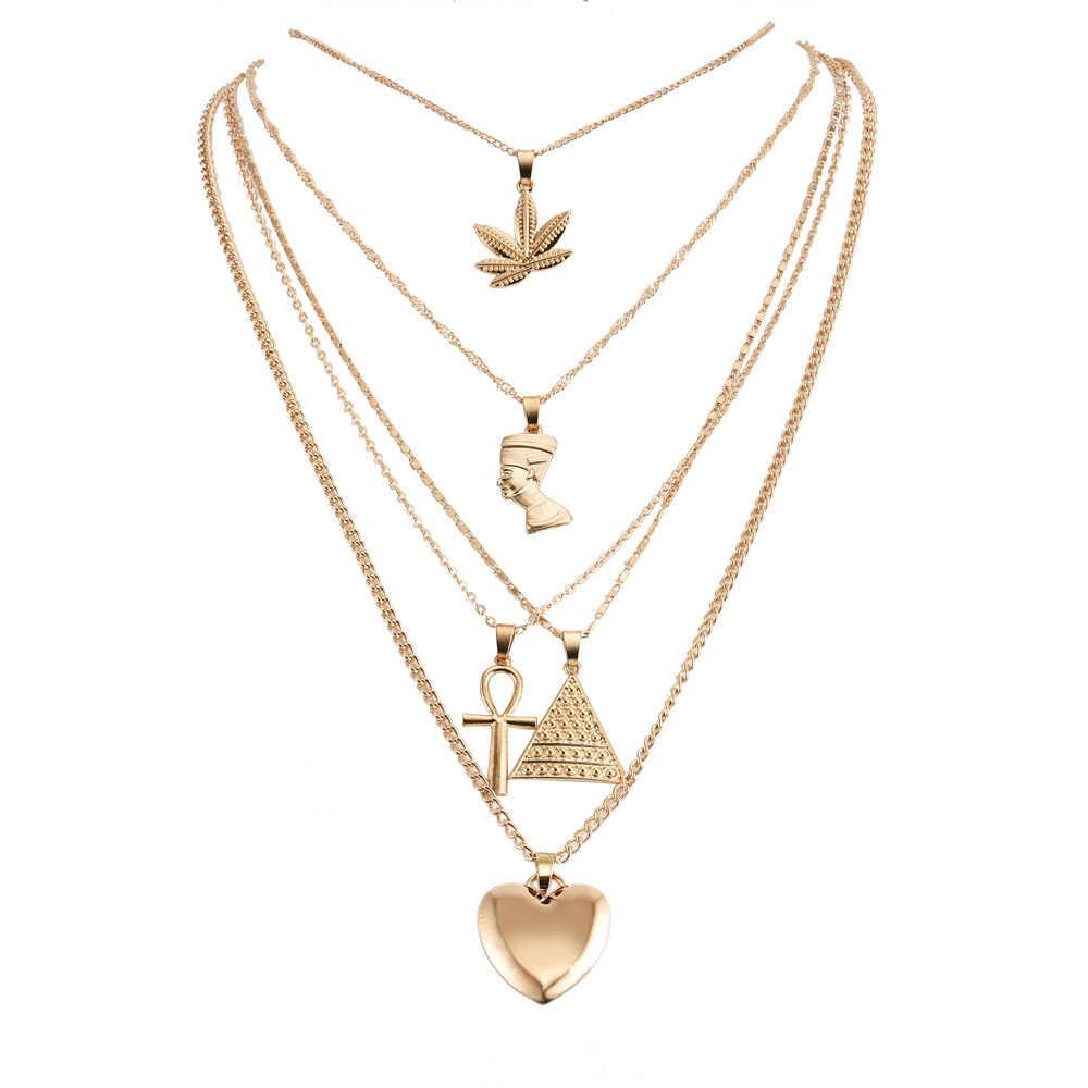 Vintage Leaf Cross Heart Pyramid starożytny egipski faraon wisiorek wielowarstwowe złoto naszyjnik Punk Lady biżuteria kobiety naszyjnik zestaw