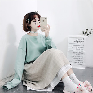 Image 5 - 2020 Japanese Soft Girl kawaii Skirts Women Summer Lolita High Waist Vintage Skirt Cute Plaid Lace A Line Tutu Midi Skirt