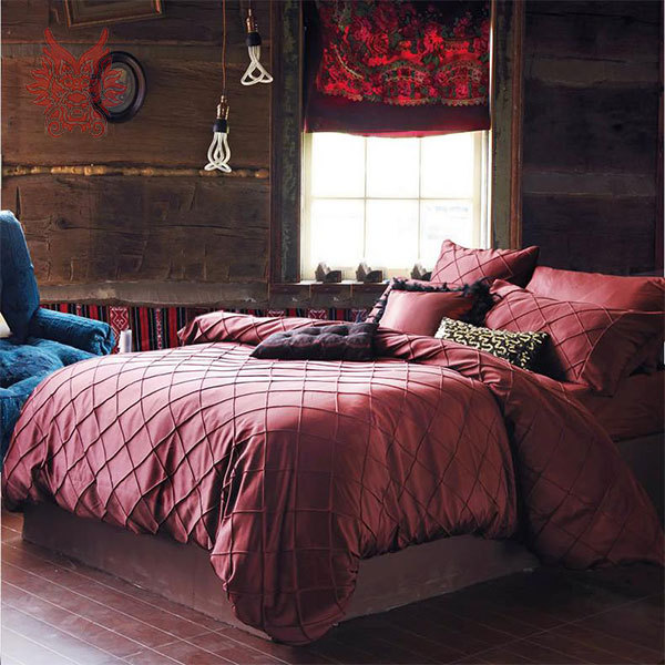 European Dark Red Quilting Tribute Silk Bedding Sets Cotton Washable Duvet Cover Bed Sheet