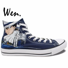 Wen Blue Anime Hand Painted Shoes Design Custom Detective Conan Kid the Phantom Thief High Top Men Women's Canvas Sneakers