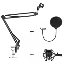 купить Professional Microphone Suspension Boom Scissor Arm Stand & Metal Shock Mount + Pop Filter for Condenser Microphone по цене 1311.74 рублей
