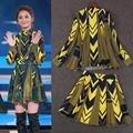 100% de Seda! Alta Calidad Nueva Celebrity Fashion Set Traje de Falda Primavera Mujeres Estampado Geométrico Blusas + Falda de Estampado A Cuadros (2 unid) Traje de Falda