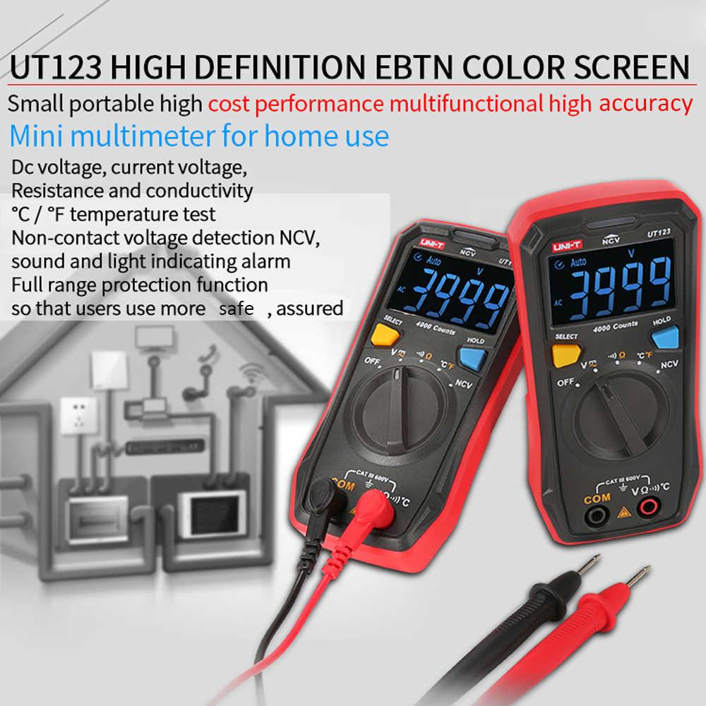 UT123 Цифровой мультиметр NCV цветной вольтметр с экраном мини ESR метр термометр Автоматическая идентификация ACV/DCV измерения