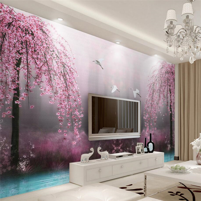 beibehang Premium Wallpaper Aesthetic Dream Pink Swan Lake Landscape TV Wall Background papel de parede 3d photo wallpaper dream lake