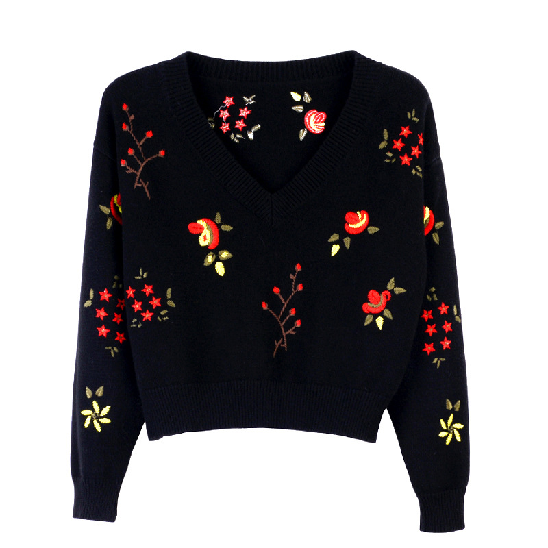 Black Pullover Sweater blue V Embroidered Neck Loose Pull Sweater Sweaters Jumpers Knitted Women Femme Crop 2017 Pullovers white Winter New Autumn And SqwpUU