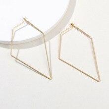 Minimalist ear jewelry dainty basic style gold silver geometric rhombic thin copper wire hoop earrings