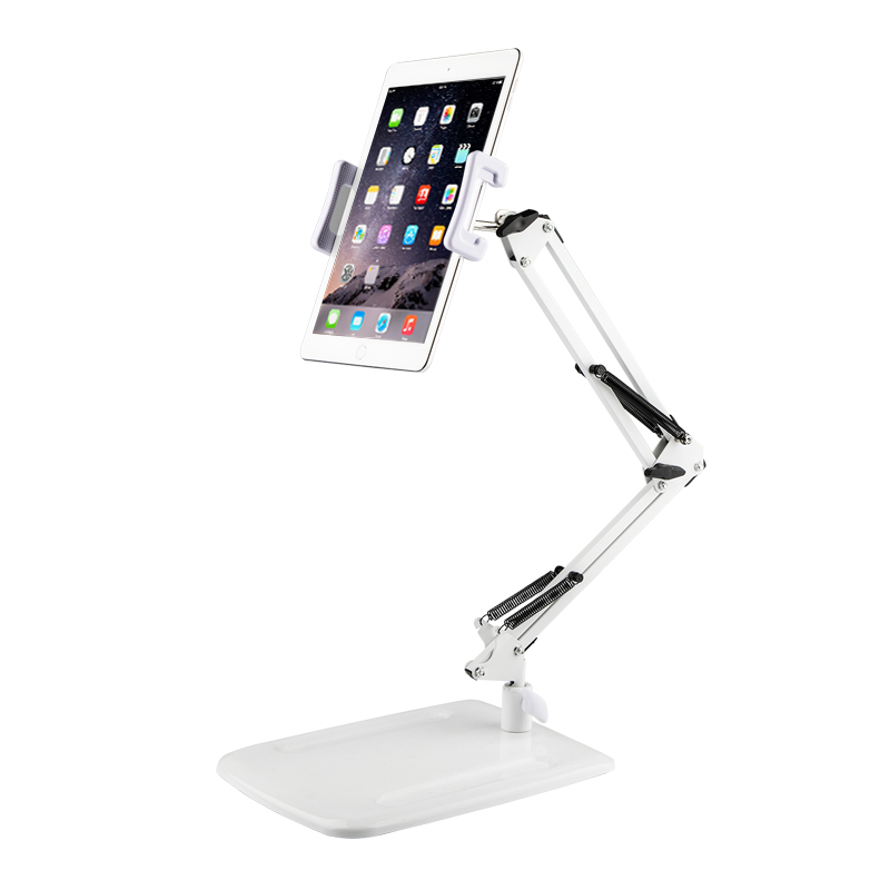 Long Arm Aluminum Tablet Stand Folding 360 Swivel Clamp Mount Holder Fits 4 11 Display Tablet