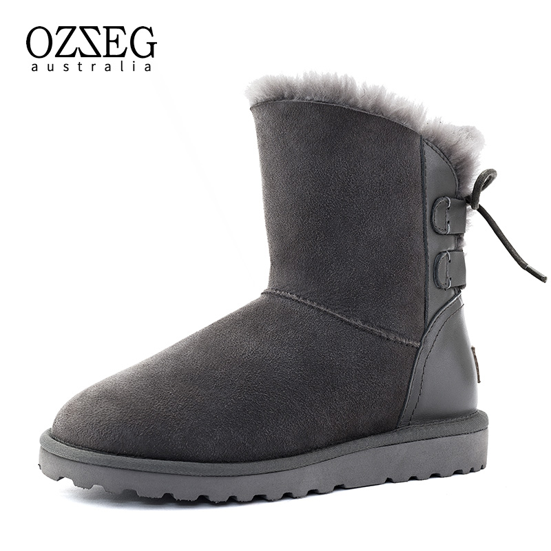 Classic Women Snow Boots 100% Real Fur Genuine Leather Boots Winter Shoes for Women Warm Boots Top Quality Mujer Botas Hand Made 2016 new brand designer tassels snow boots for women good quality winter boots genuine leather boots platform botas mujer