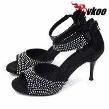 Evkoodance Latina Zapatos Salsa dance shoes Best seller 8.5cm high heel black Latin Rhinestones dance shoes for woman Evkoo-375