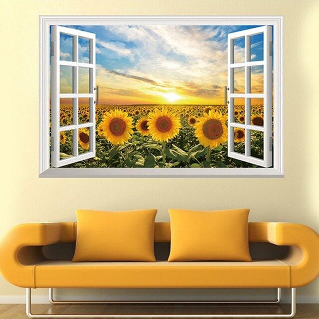 3D Fake Window Sunflower Sun Wall Decal Home Sticker Paper Art ...