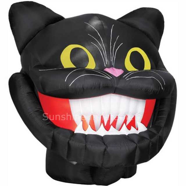 Holiday theme inflatable halloween inflatable/10 Foot Animated Inflatable giant black cat head for party yard decoration