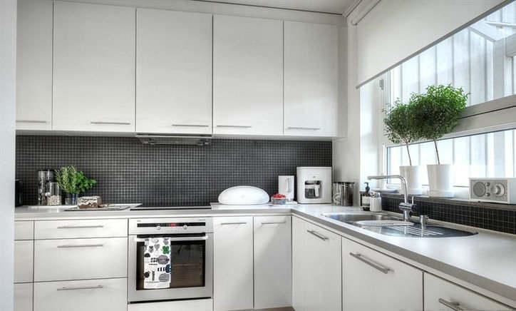 Gabinetes de la cocina moderna con pintura de alto brillo lacado ...