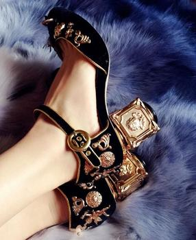Angel relief wedding shoes gold flower diamond beading luxury  velvet woman buckle shoes stone low heel shoes