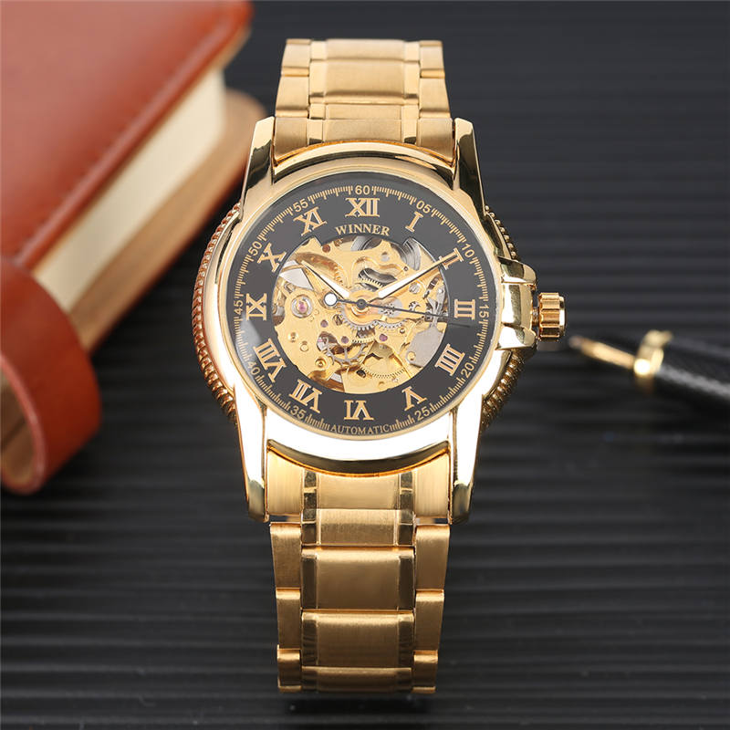 Automatic Mechanical Watch Self-Wind Stainless Steel Golden Gear Tevise Skeleton Watches Luminous Functional horloges mannen