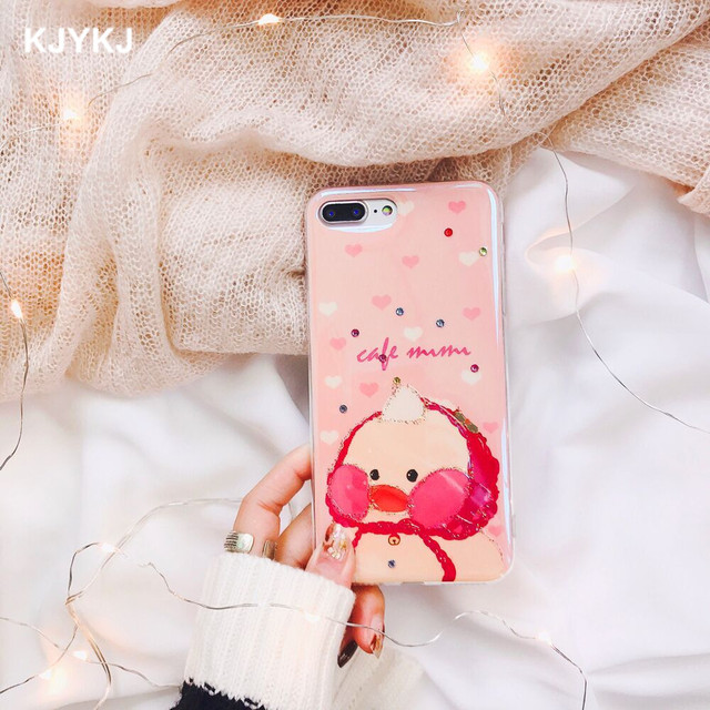 new arrival 06cdc a4249 KJYKJ Phone Case For iPhone X 6 6s 8 Plus Cute Blue Light Yellow Duck  Glitter Bling Back Cover Blue Ray Case For iPhone 7 7Plus-in Half-wrapped  Case ...